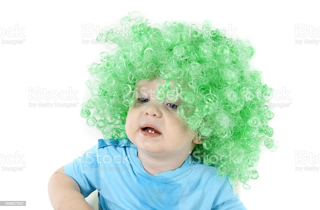 Little boy with a green wig royalty-free stock photo