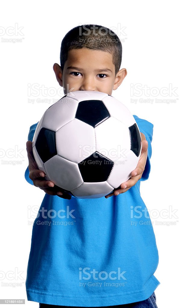 Little Boy With a Soccer Ball royalty-free stock photo