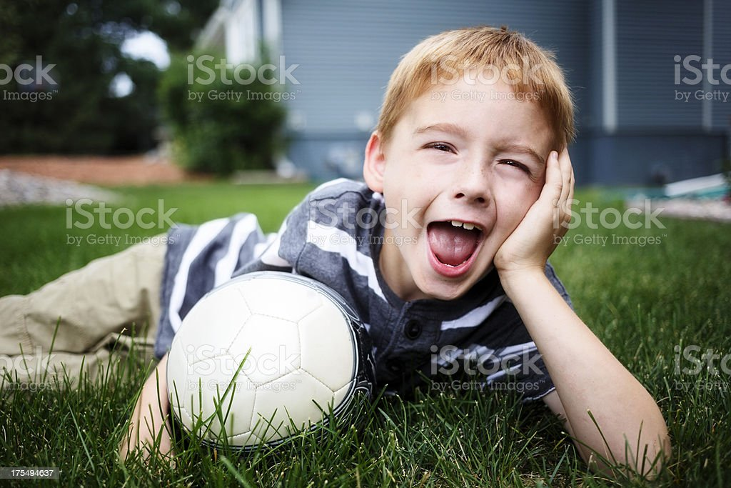 Little Boy with a Soccer Ball stock photo