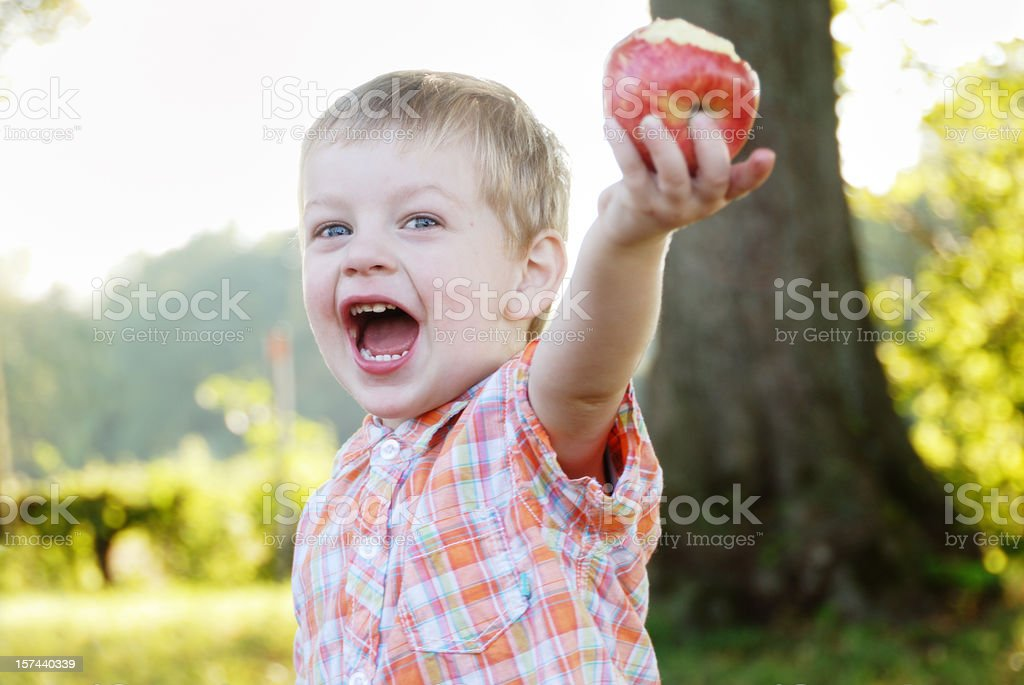 little boy with apple royalty-free stock photo