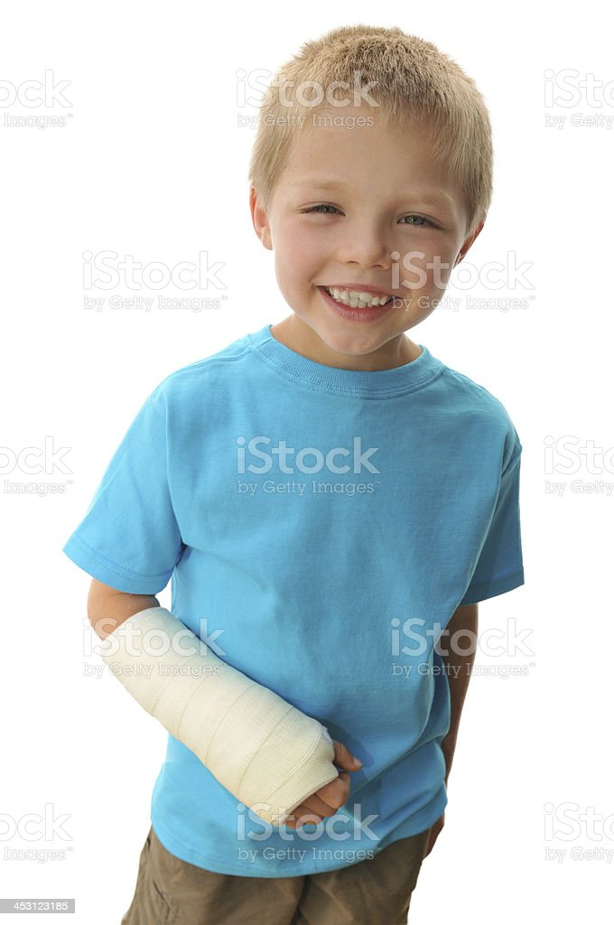 Little Boy With Broken Arm royalty-free stock photo