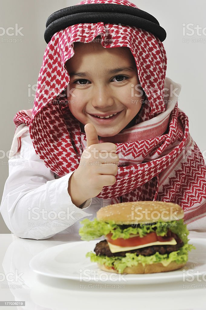 Little boy with burger royalty-free stock photo