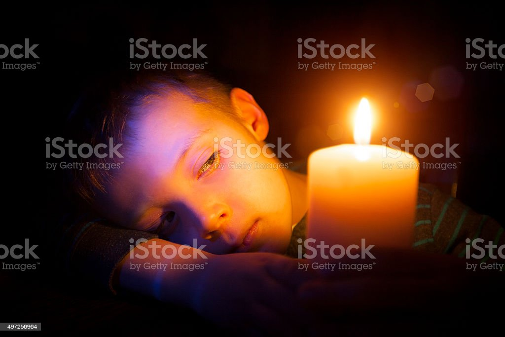 Little Boy with Candle stock photo