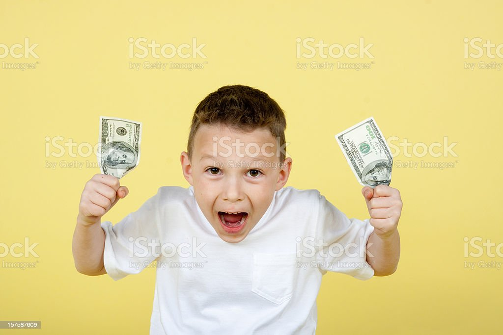 LIttle boy with cash royalty-free stock photo