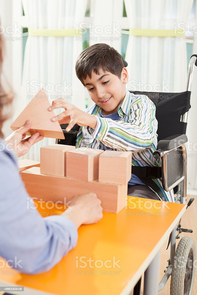 Little Boy With Cerebral Palsy stock photo