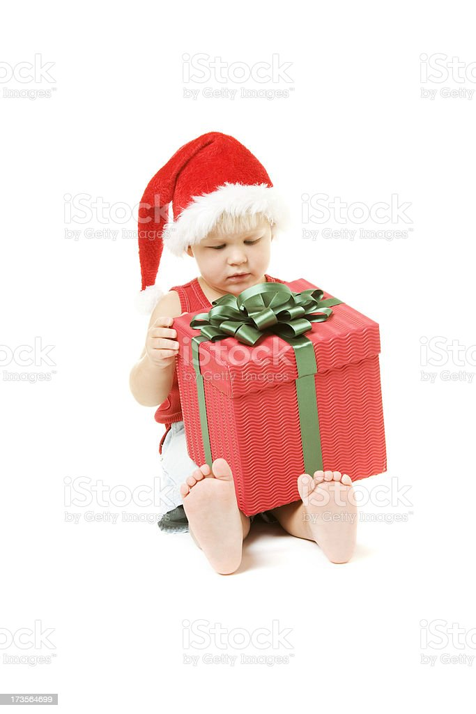 Little Boy with Christmas Present royalty-free stock photo