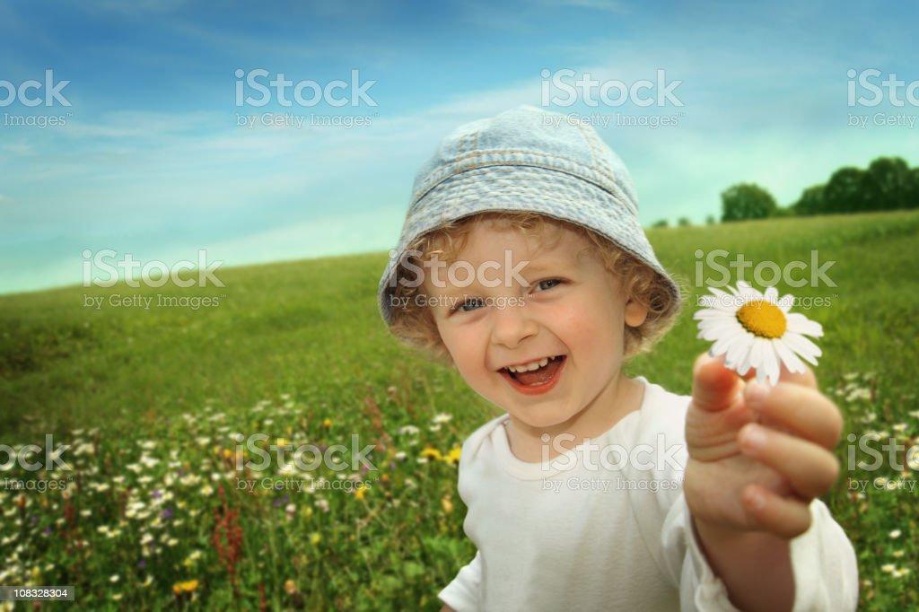 Little Boy with Daisy Flower stock photo