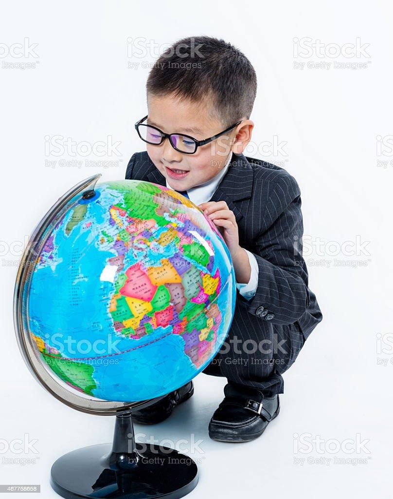 little boy with earth globe stock photo