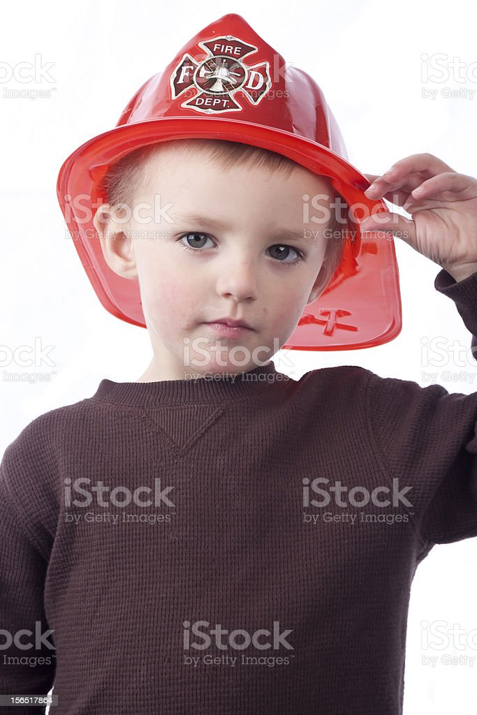 Little Boy with Fireman Hat royalty-free stock photo