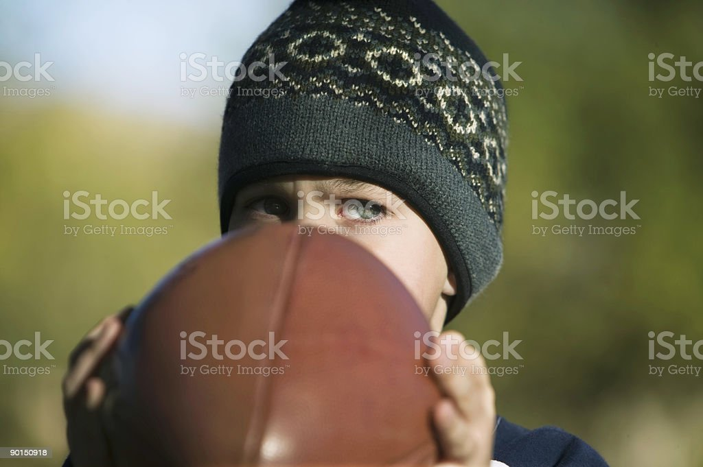 Little Boy with Football stock photo
