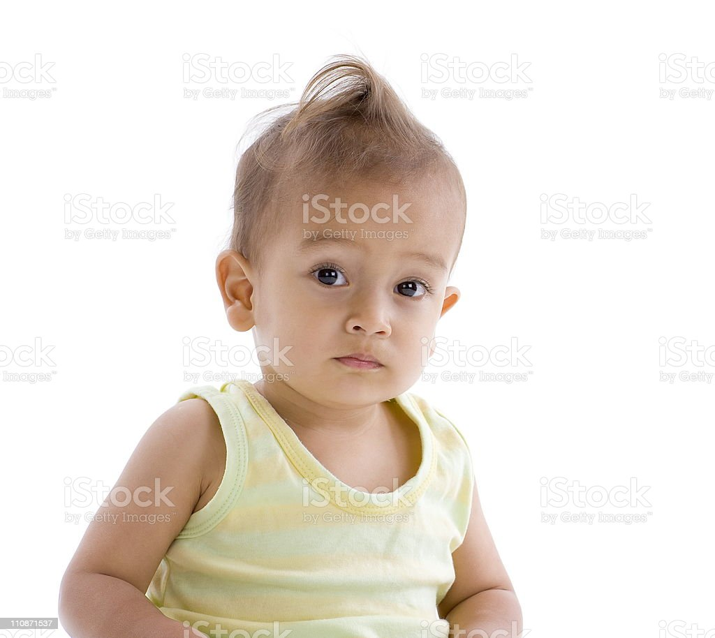 little boy with funny hairstyle stock photo