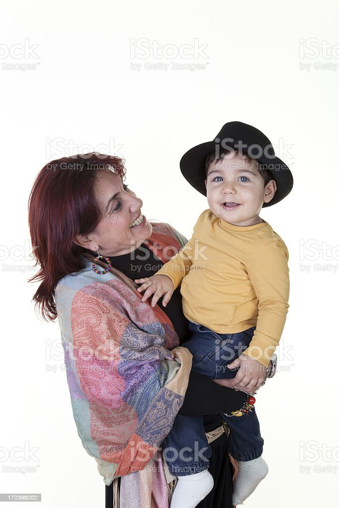 little boy with grandmother stock photo