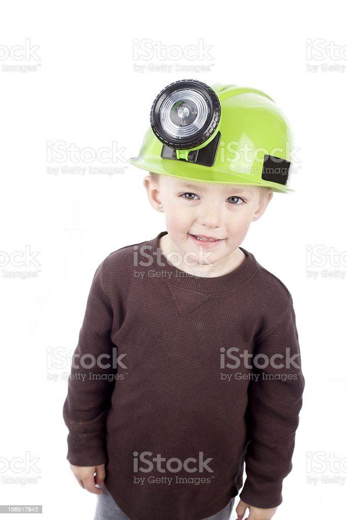 Little Boy with Miner Hat royalty-free stock photo