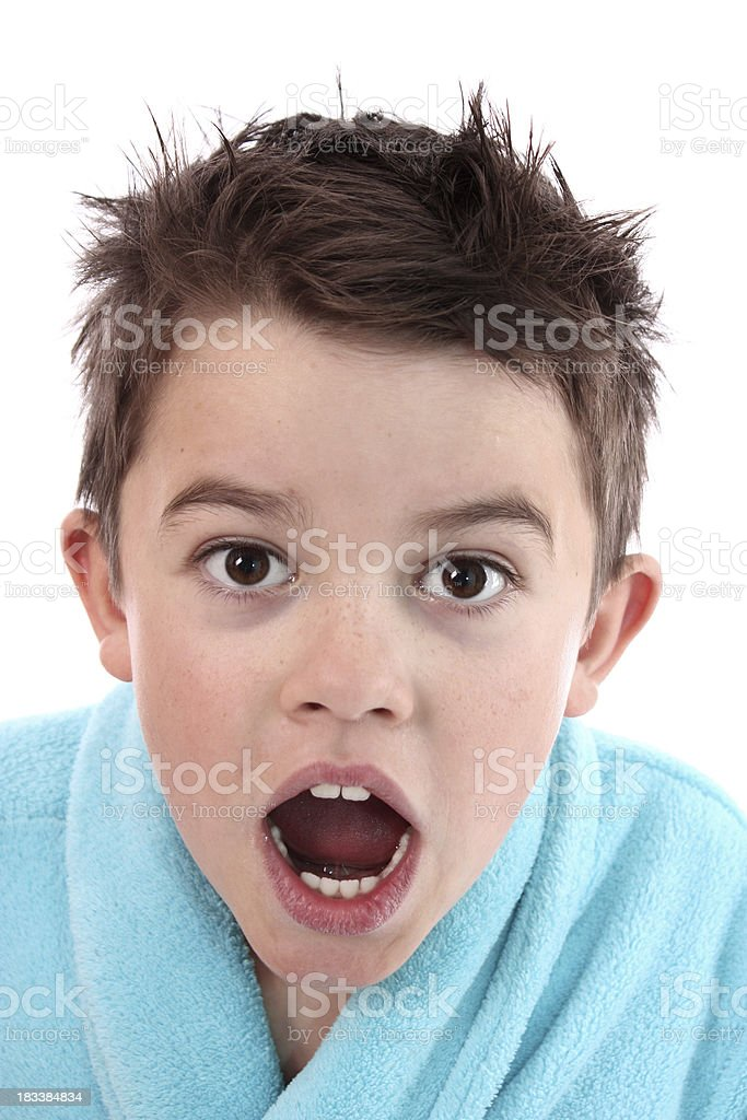 Little Boy With Mouth and Eyes Wide Open Expression stock photo