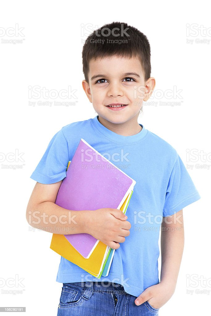 little boy with notebooks royalty-free stock photo