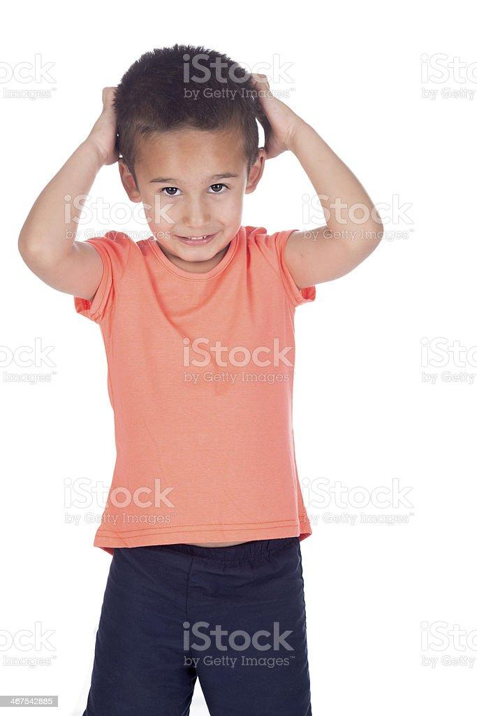 little boy with organge shirt stock photo