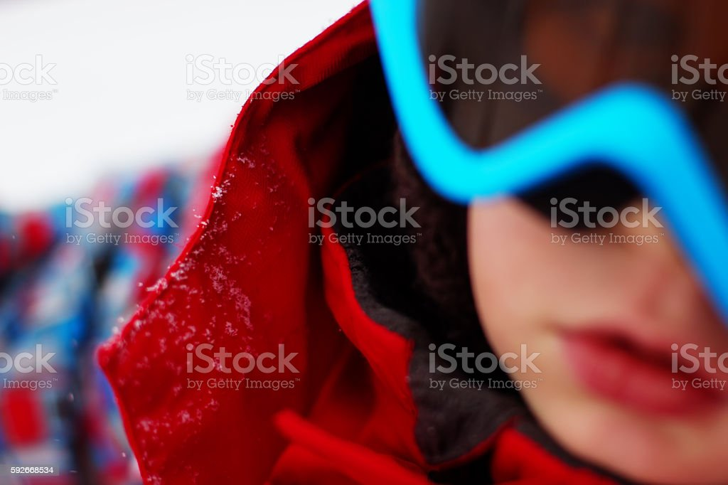 little boy with ski outfit, blured stock photo