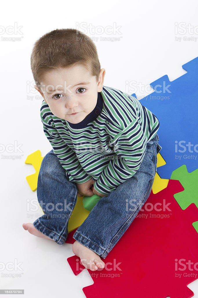 Little boy with soft toys royalty-free stock photo