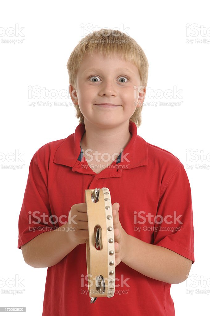 Little boy  with tambourine royalty-free stock photo