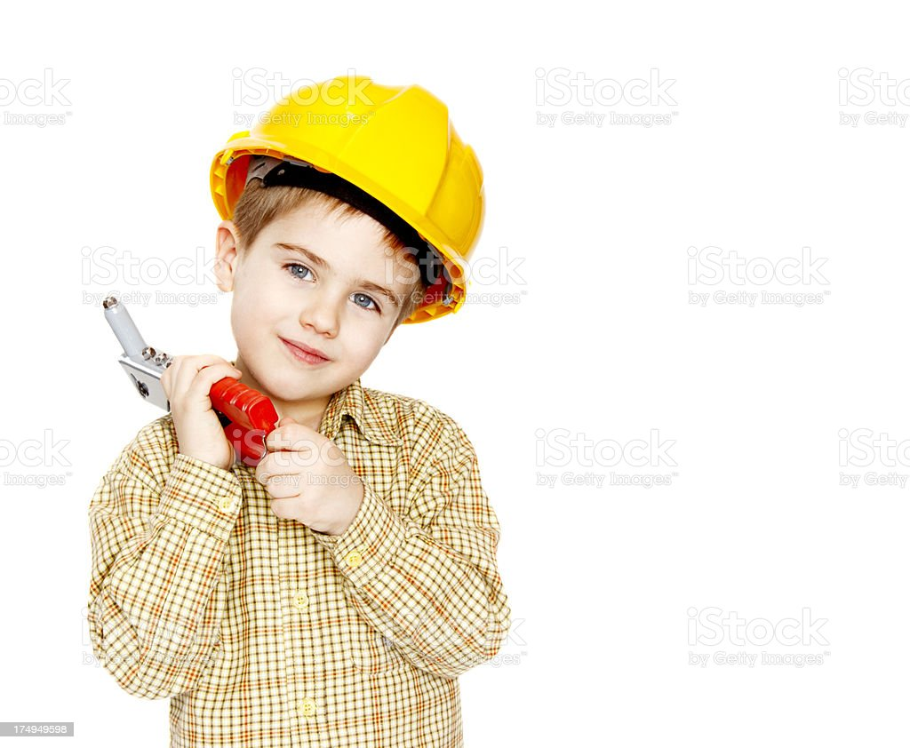 Little boy with yellow hard hat royalty-free stock photo