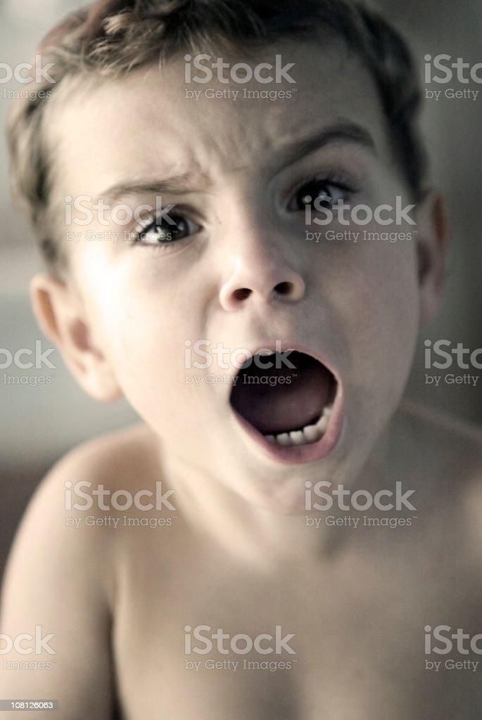 Little Boy Yelling royalty-free stock photo