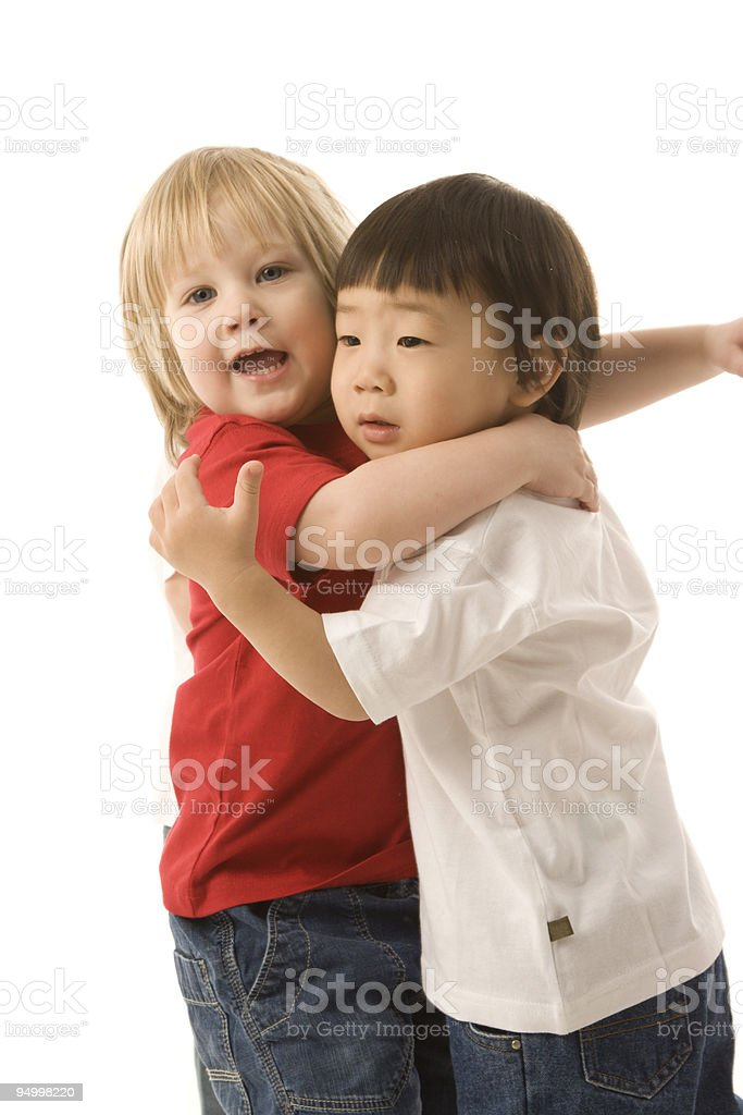 Little boys hugging royalty-free stock photo