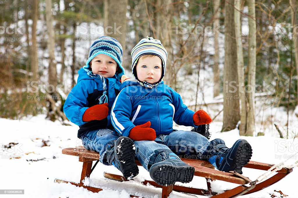 Little Boys on Sled in Winter stock photo