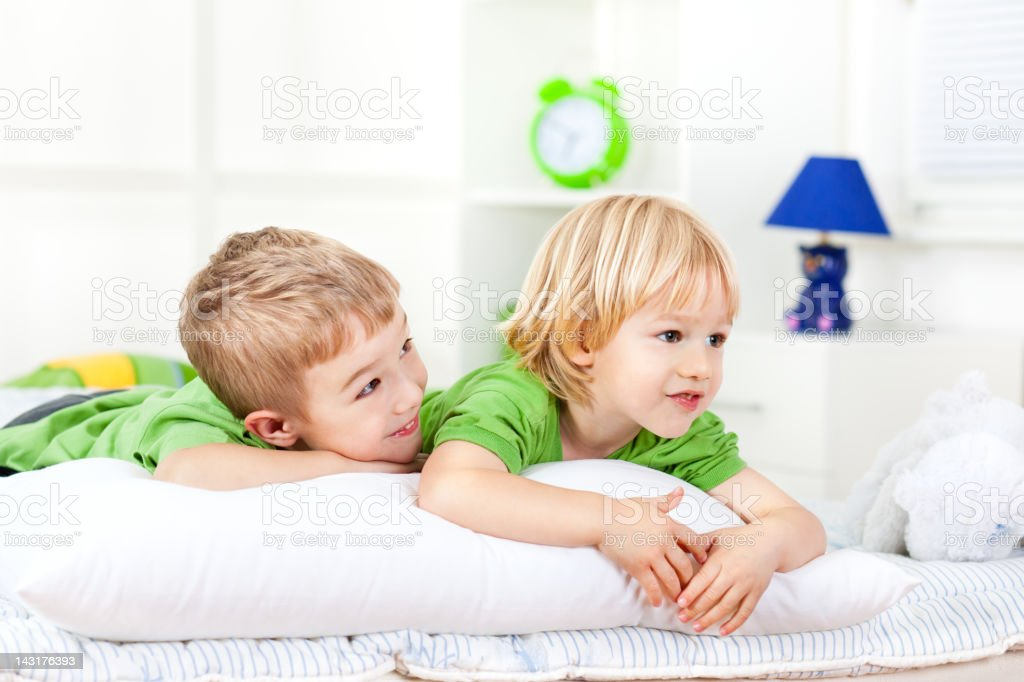 Little boys playing together at home royalty-free stock photo