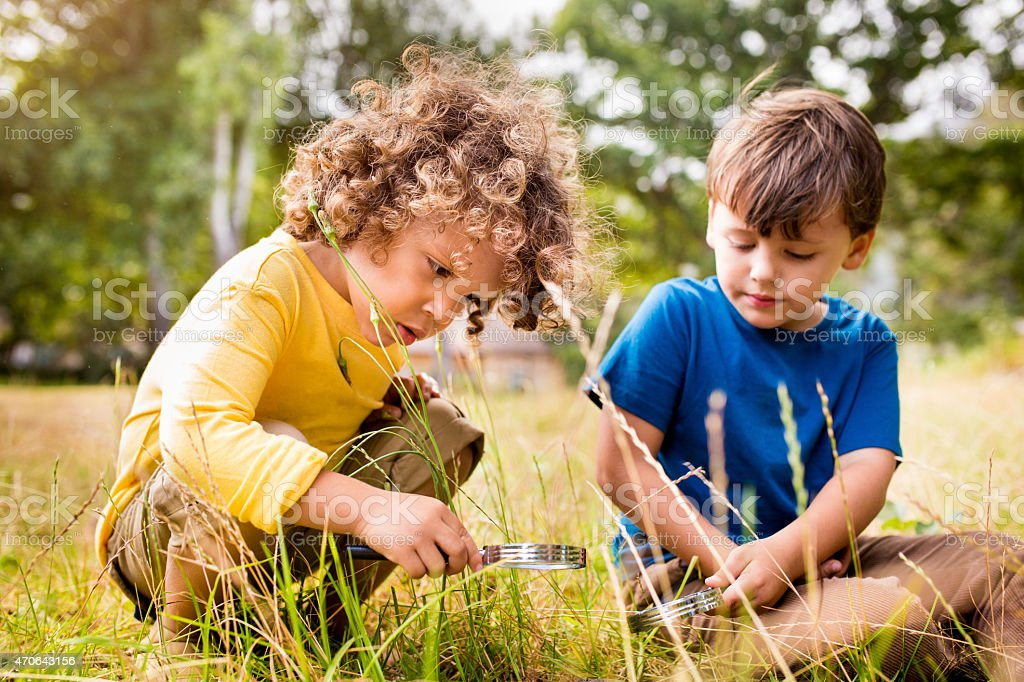Little boys using a magnifying glass in a park stock photo