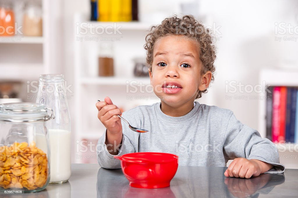 Little Boy/Toddler Eating Cereal stock photo