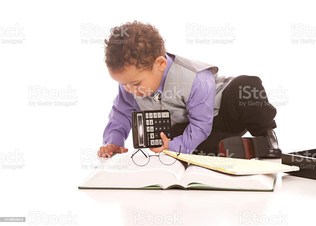 Little Businessman at Work stock photo