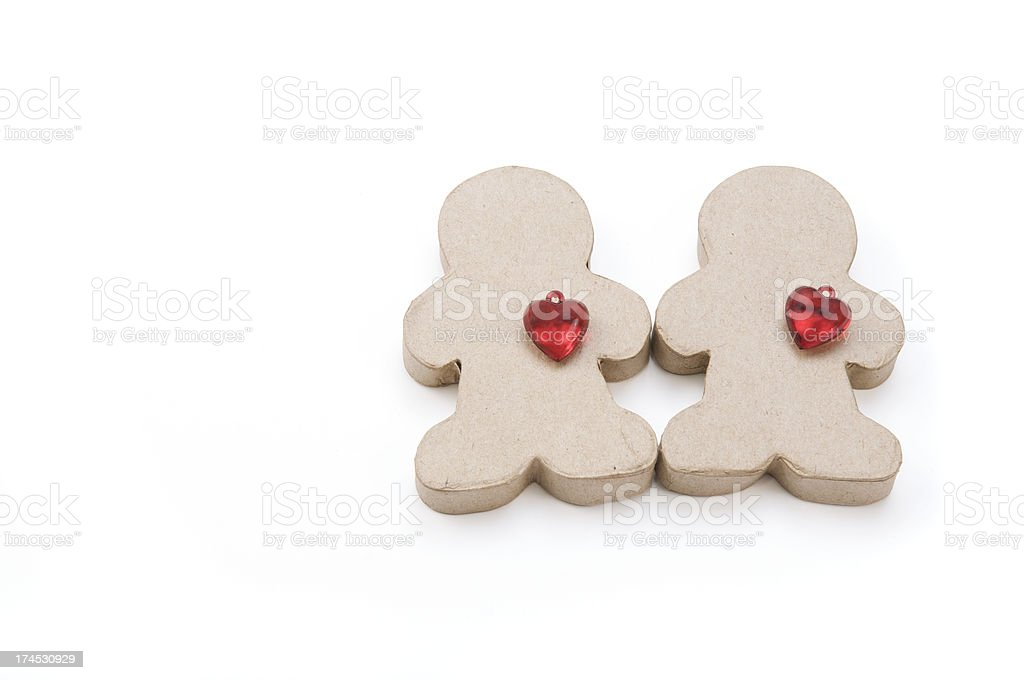 Little Cardboard Couple Red Hearts stock photo
