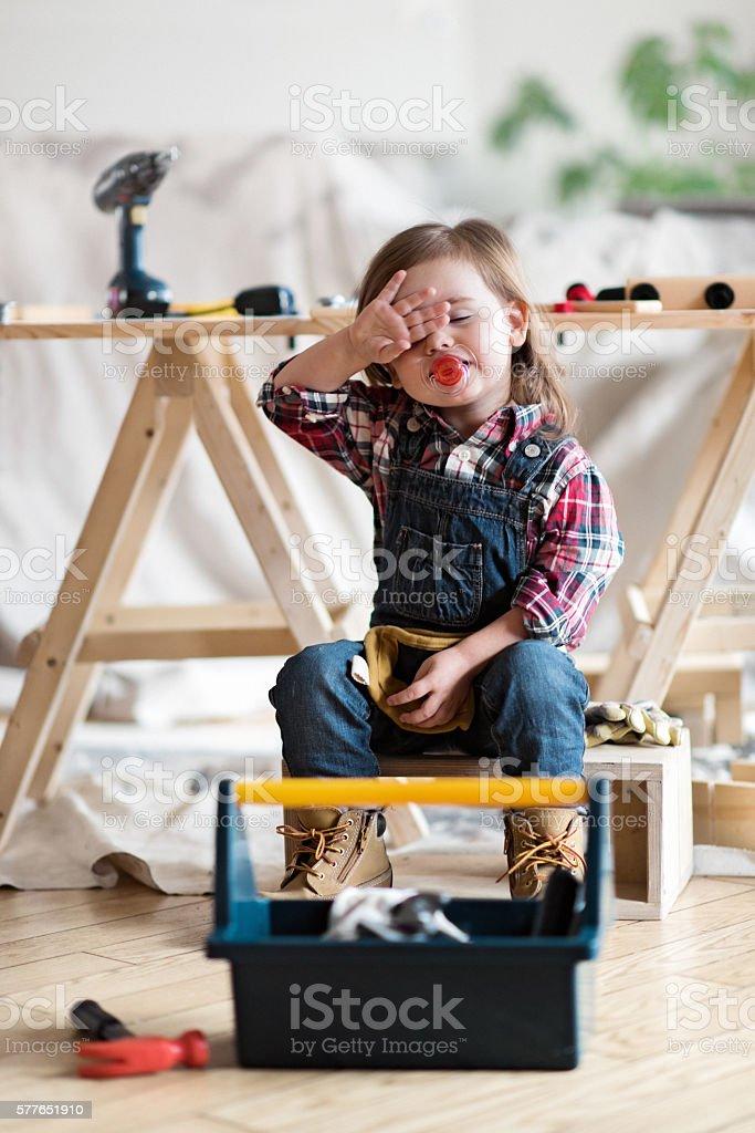 Little Carpenter Tired stock photo