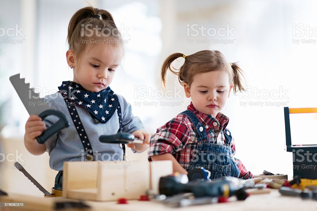 Little Carpenters stock photo