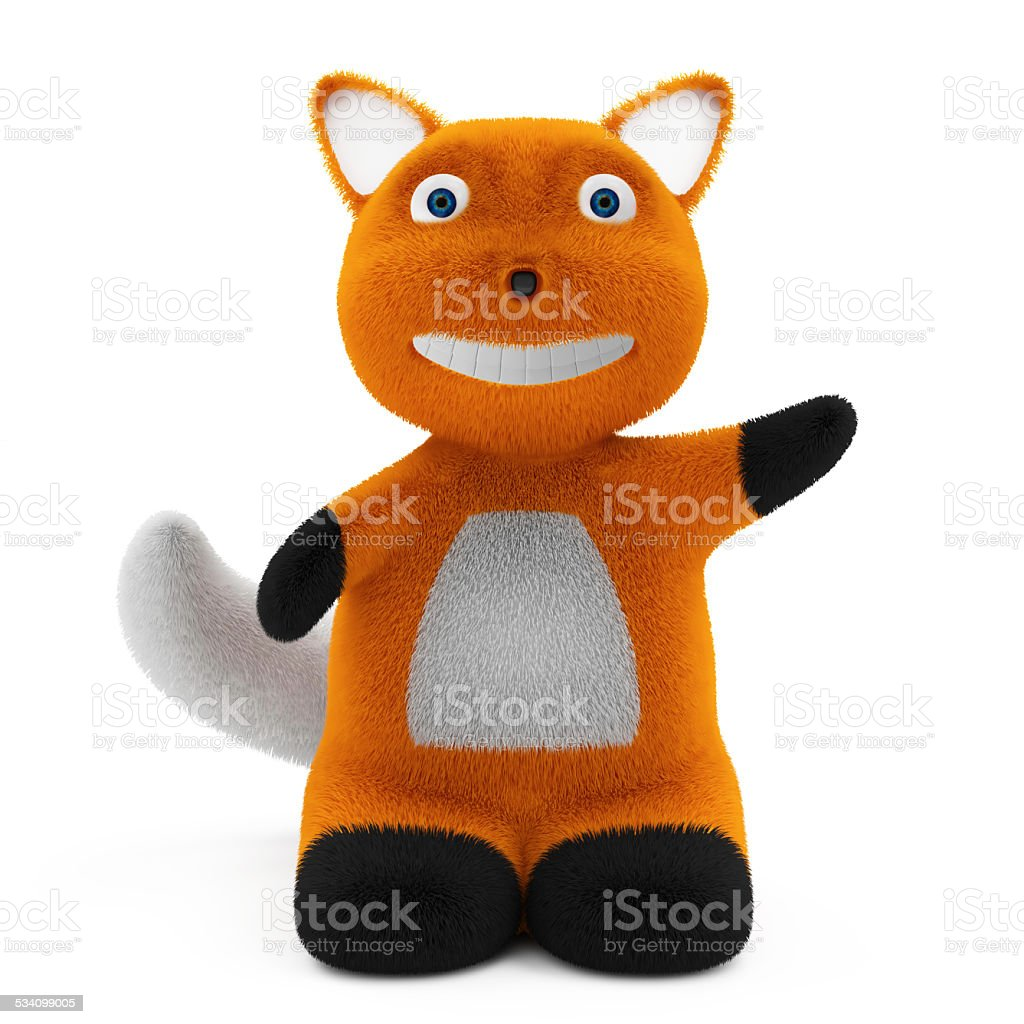 Little Cartoon Fox isolated on white background stock photo