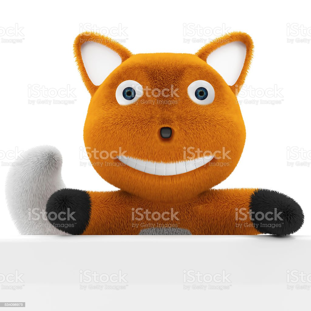Little Cartoon Fox with Blank Board isolated on white background stock photo