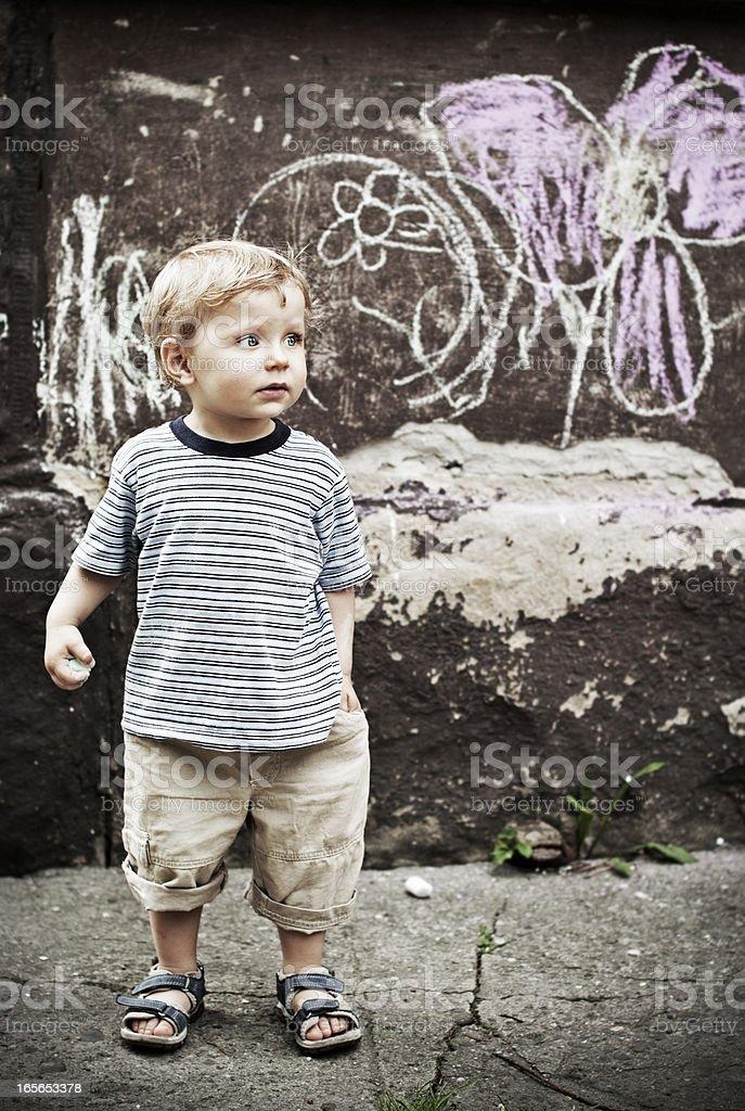 Little chalk artist royalty-free stock photo