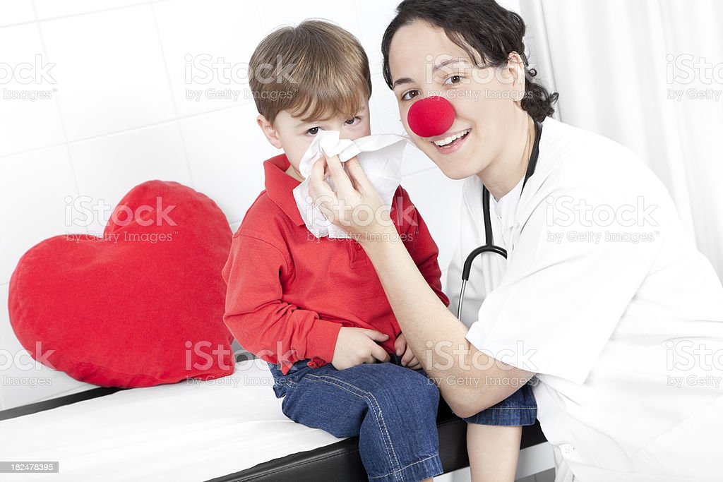 little child and doctor stock photo