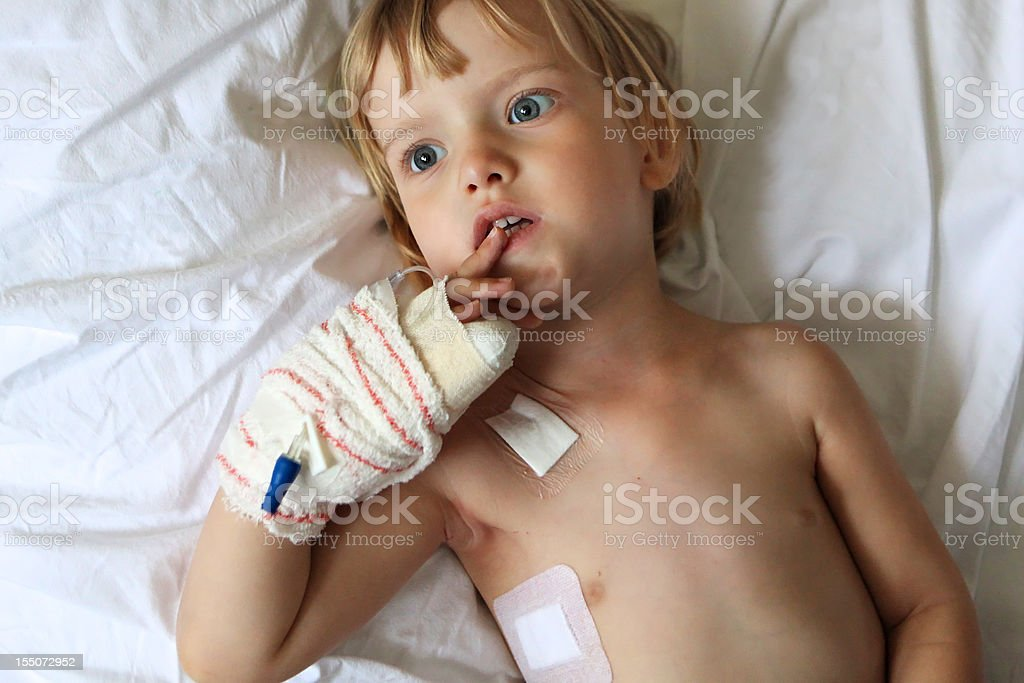 Little child in hospital stock photo