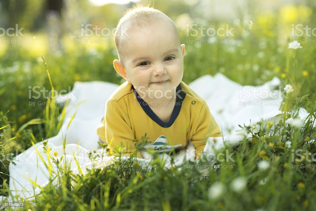 little child lying on a diaper the grass stock photo