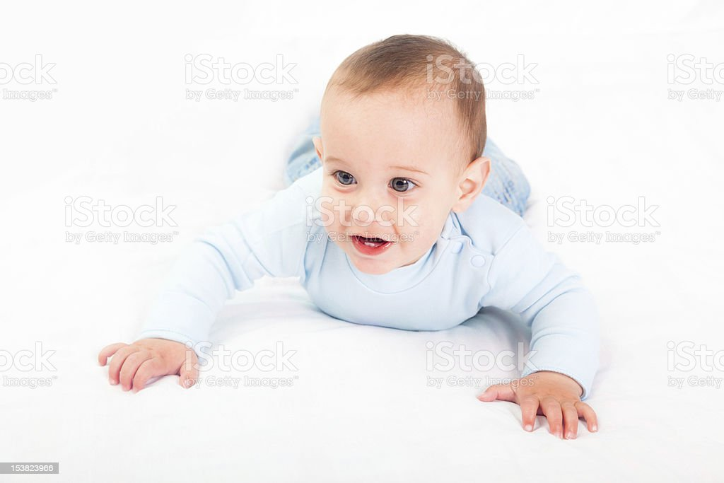 Little Child on the Bed stock photo
