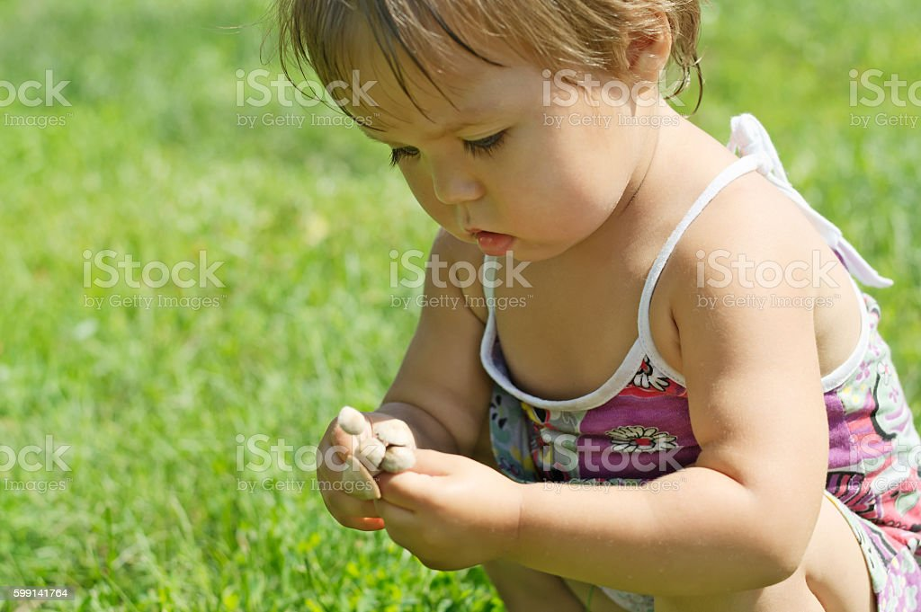 Little child playing with toxic toadstool mushrooms stock photo