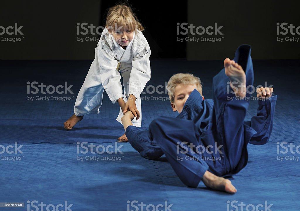 Little children on a karate training. stock photo
