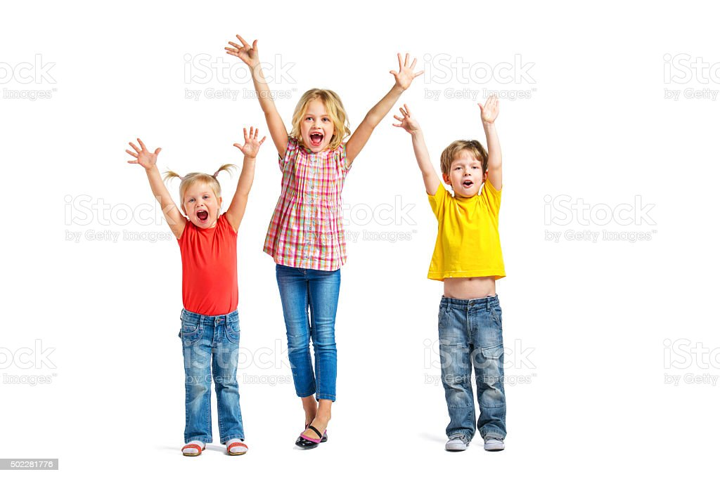 little children on white background stock photo