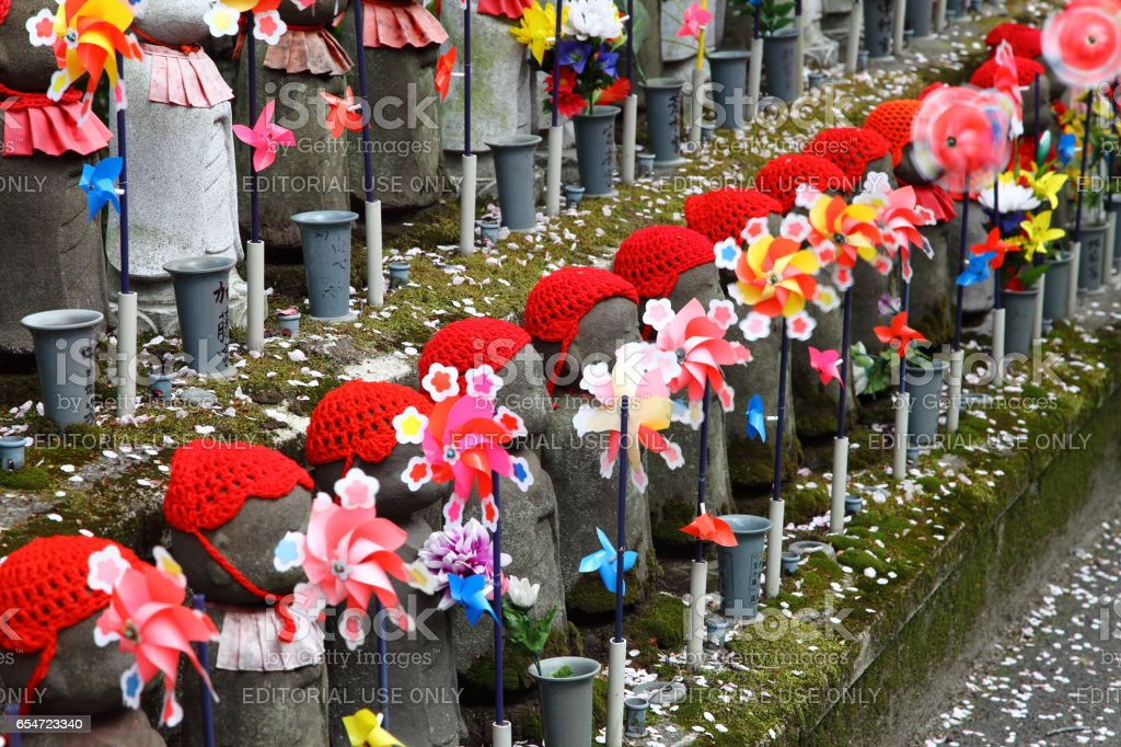 Little children statues  in Zojoji Temple, Tokyo stock photo