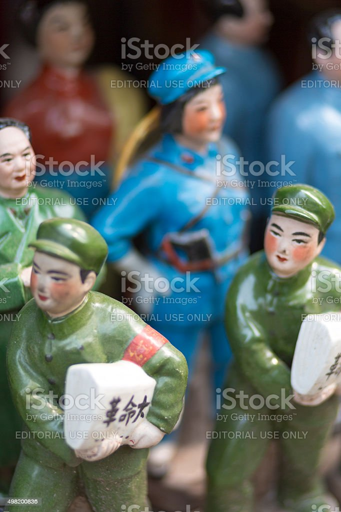 Little chinese tin slodiers stock photo
