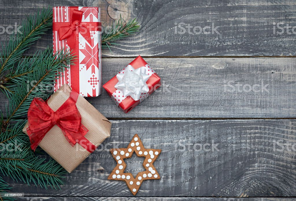 Little christmas present in winter time stock photo