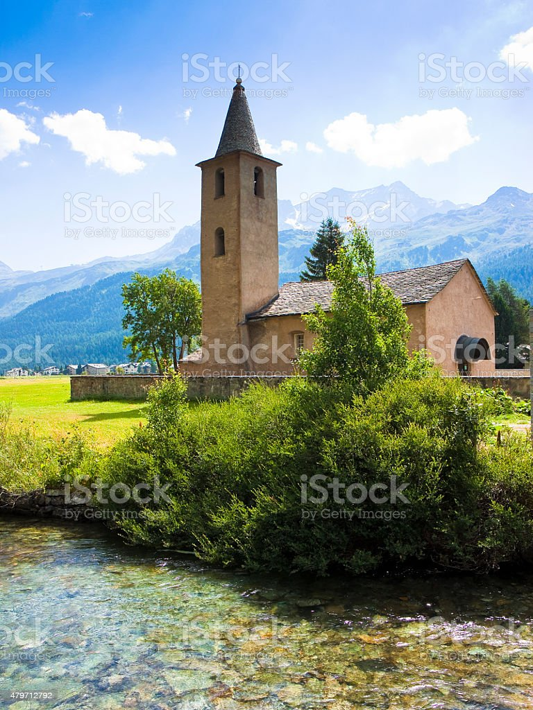 Little church around Sils lake - Upper Engadine Valley stock photo