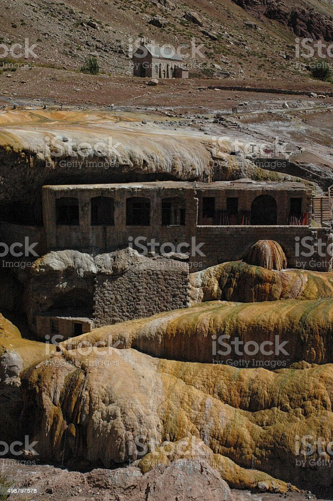 Little church at Puente del Inca stock photo