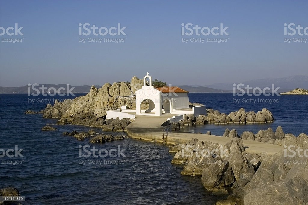 Little church by the sea. stock photo